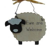 FARM FRIENDS (SHEEP) EWE ARE WELCOME WOODEN HANGING SIGN IN BOX....